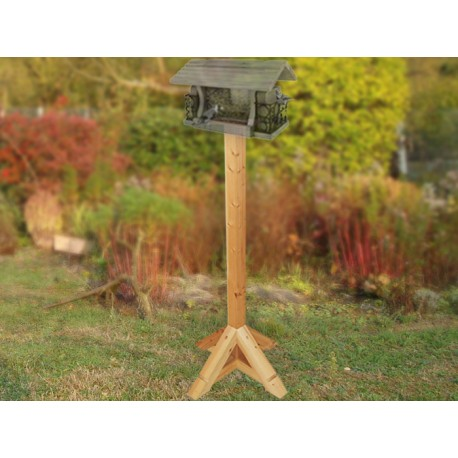 poteau bois 138 cm poteau en bois pour mangeoire pour oiseaux du jardin. Black Bedroom Furniture Sets. Home Design Ideas