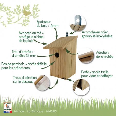 Nichoir Bicoque pour oiseaux mésanges charbonnières, moineaux, sittelles torchepot ... Natures Market