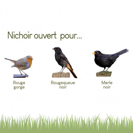 Nichoir semi ouvert pour oiseaux : le Chalet : rouge gorge, merle... Natures Market Fabriqué en France.