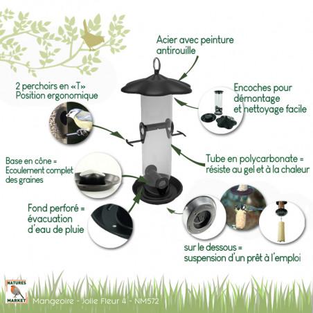 Mangeoire Tubulaire Jolie Fleur 4 ouvertures Natures Market -Oisillon.net-
