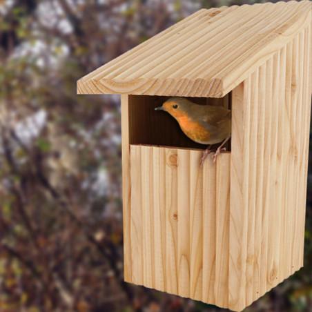 Nichoir semi ouvert pour oiseaux : le Refuge : rouge gorge, merle... Natures Market Fabriqué en France.