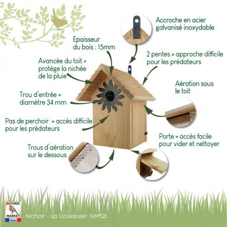 Nichoir La Couveuse pour oiseaux mésanges charbonnières, moineaux, sittelles torchepot ... Natures Market