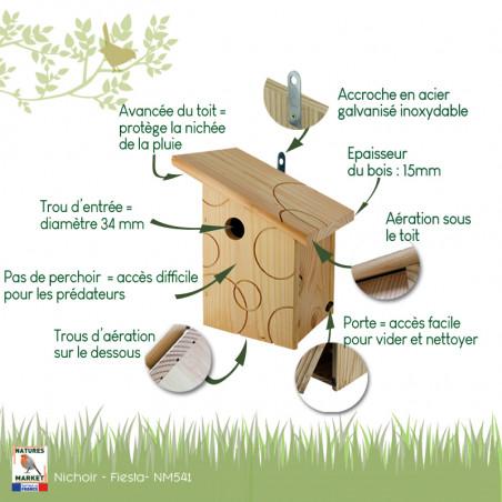 Nichoir Fiesta pour oiseaux mésanges charbonnières, moineaux, sittelles torchepot ... Natures Market