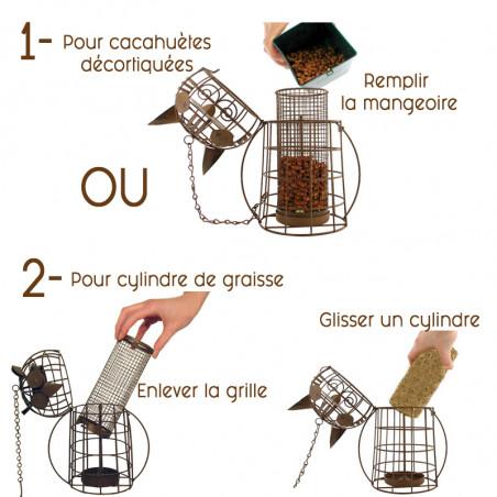Mangeoire Chouette pour graisses ou graines Natures Market -Oisillon.net-