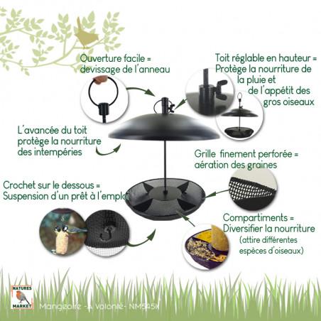 Mangeoire A Volonté pour graines et cylindre de graisse Natures Market -Oisillon.net-