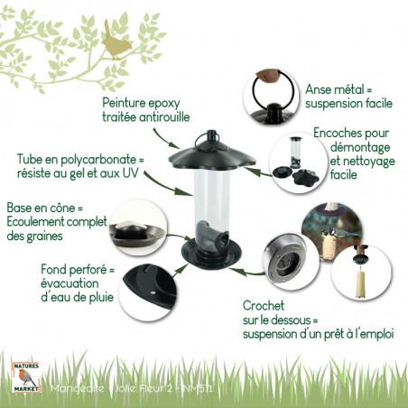 Mangeoire tubulaire Jolie Fleur 2 pour graines Natures Market -Oisillon.net-