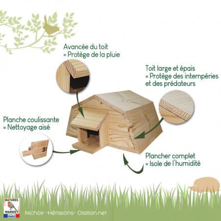 Nichoir pour hérissons Natures market -Oisillon.net-