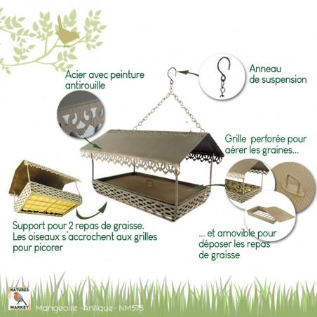 Mangeoire Antique pour oiseaux, pour graisses et graines Natures Market -Oisillon.net-
